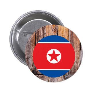 Círculo de la bandera de Corea del Norte en el Chapa Redonda 5 Cm