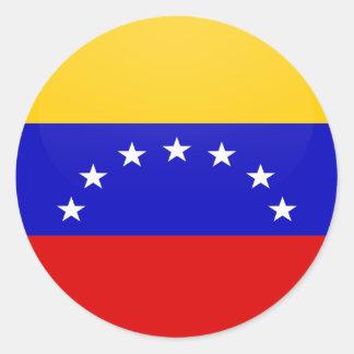 Círculo de la bandera de la calidad de Venezuela Pegatina Redonda