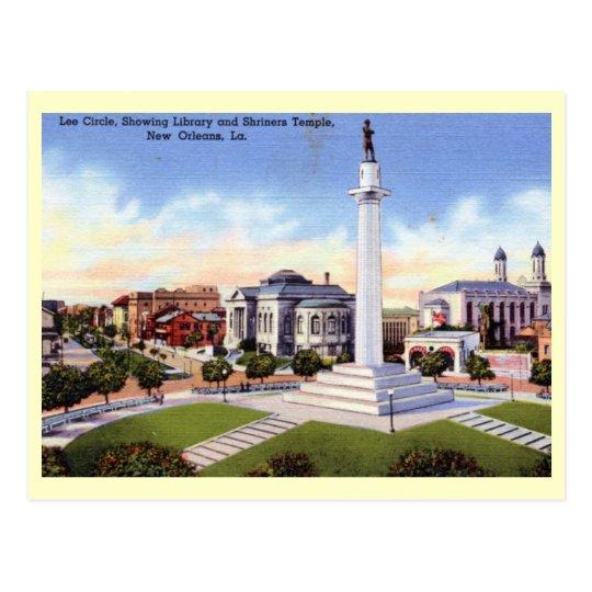Círculo de Lee, vintage de New Orleans, Luisiana Postal