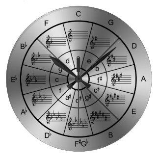 Círculo de los músicos del color plata de los reloj redondo grande
