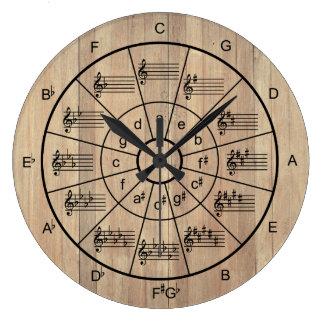 Círculo de los músicos marrones del color de los reloj redondo grande