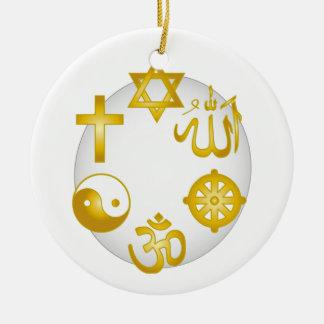 Círculo de símbolos religiosos de oro adorno redondo de cerámica
