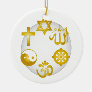 Círculo de símbolos religiosos de oro adorno navideño redondo de cerámica