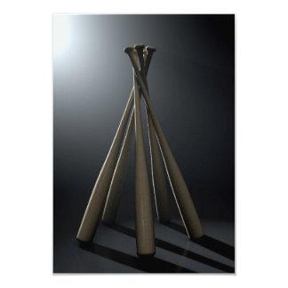 Círculo del bate de béisbol dramático invitación 8,9 x 12,7 cm