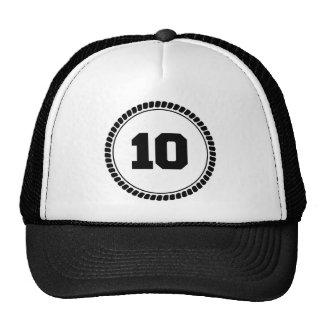 Círculo del número 10 gorros bordados