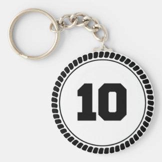 Círculo del número 10 llavero redondo tipo chapa