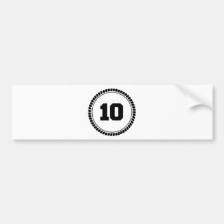 Círculo del número 10 etiqueta de parachoque
