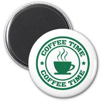 Círculo del tiempo del café A251 verde oscuro Imán Redondo 5 Cm