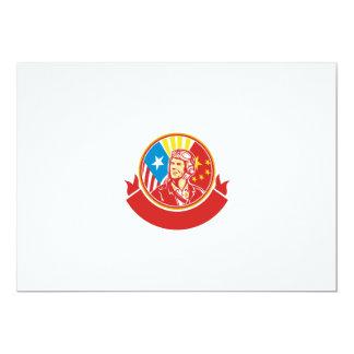 Círculo experimental de la bandera de los E.E.U.U. Invitación 12,7 X 17,8 Cm