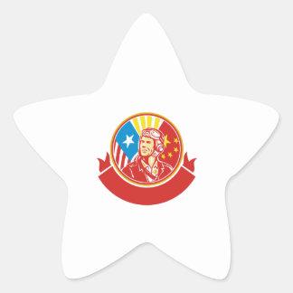Círculo experimental de la bandera de los E.E.U.U. Pegatina En Forma De Estrella