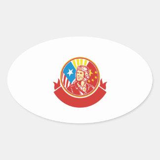 Círculo experimental de la bandera de los E.E.U.U. Pegatina Ovalada