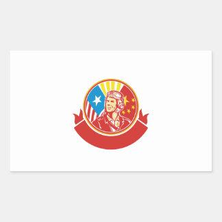 Círculo experimental de la bandera de los E.E.U.U. Pegatina Rectangular