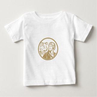 Círculo experimental del oro del tigre del aviador camiseta de bebé
