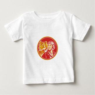 Círculo experimental del tigre del aviador de la camiseta de bebé