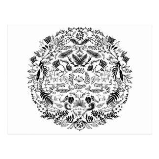 Círculo floral decorativo tarjetas postales