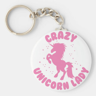 círculo loco de la señora del unicornio en rosa llavero redondo tipo chapa