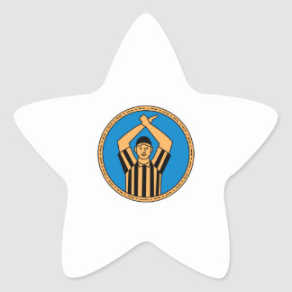 Círculo mono L de la señal de mano del árbitro del Pegatina En Forma De Estrella
