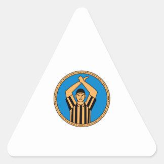 Círculo mono L de la señal de mano del árbitro del Pegatina Triangular