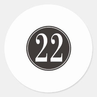 Círculo negro #22 (frente) pegatina redonda