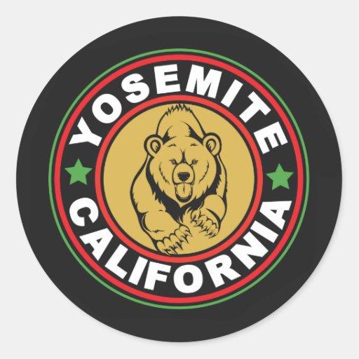 Círculo negro de Yosemite Etiquetas Redondas