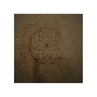 Círculo sagrado de la flor de la geometría impresión en madera