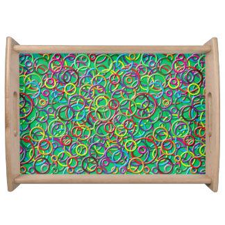 círculos 3D en la bandeja verde azulada de la