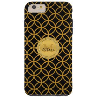 Círculos abstractos elegantes del oro negro funda resistente iPhone 6 plus