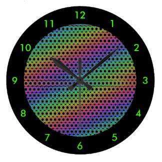 Círculos alternativos retros reloj redondo grande