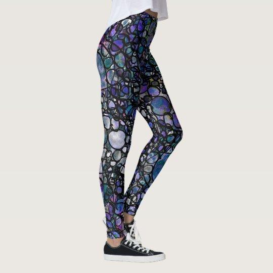 Círculos azules, púrpuras y negros a mano, locos leggings