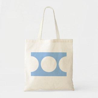 Círculos blancos en azul claro bolsa tela barata