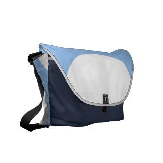 Círculos blancos en azul claro bolsas messenger