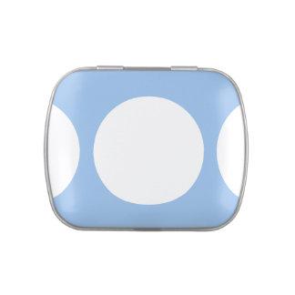 Círculos blancos en azul claro jarrones de dulces