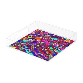 Círculos coloridos de la bandeja cuadrada