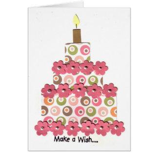 Círculos con la torta rosada de las flores tarjeta de felicitación