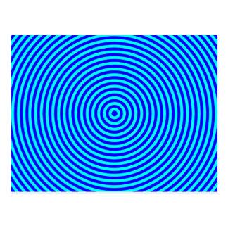 Círculos concéntricos azules de la aguamarina postal