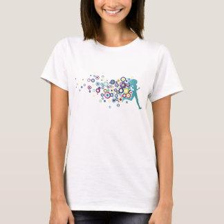 Círculos de la turquesa del chica del corredor camiseta