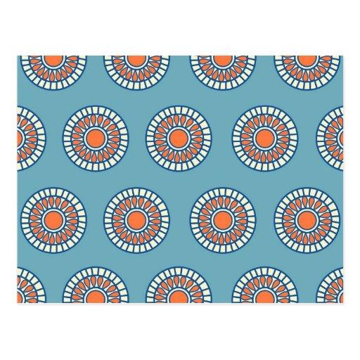 Círculos decorativos de la mandala azul y anaranja postal