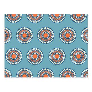 Círculos decorativos de la mandala azul y postal