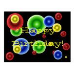 Círculos del feliz cumpleaños tarjetas postales