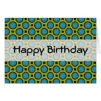 círculos del verde de la turquesa del feliz cumple tarjeta de felicitación