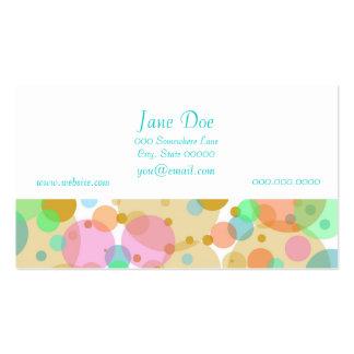 Círculos en colores pastel de las burbujas en tarjetas de visita