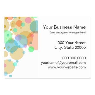 Círculos en colores pastel de las burbujas en tarjetas de visita grandes