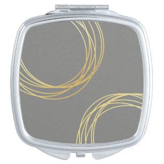 círculos geométricos del oro claro elegante espejo compacto