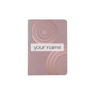 círculos geométricos grises del oro color de rosa porta pasaportes