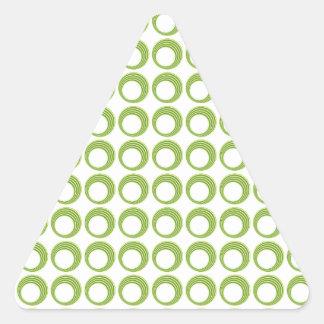 Círculos modernos abstractos verdes inconsútiles pegatina triangular