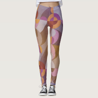 Círculos retros abstractos geométricos en colores leggings