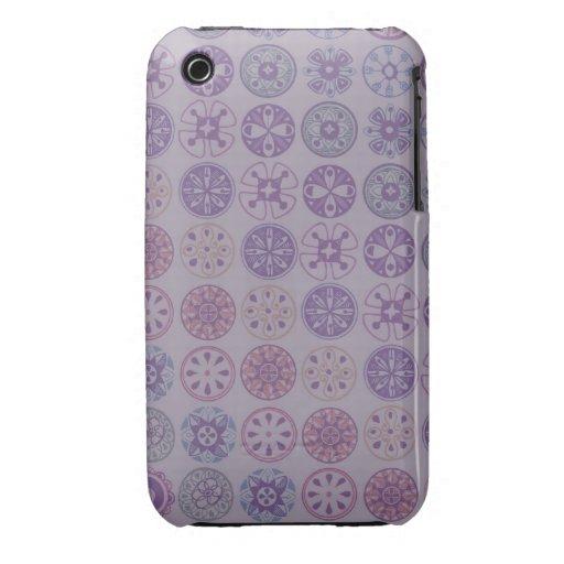 círculos retros púrpuras iPhone 3 Case-Mate protectores