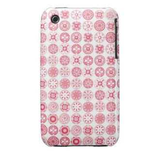 círculos retros rojos lindos Case-Mate iPhone 3 fundas