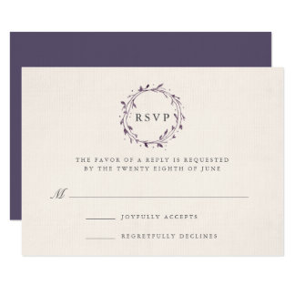 Ciruelo de la tarjeta el | de RSVP de la guirnalda