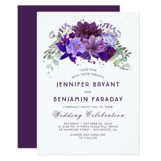 Ciruelo y boda elegante púrpura floral violeta invitación 12,7 x 17,8 cm